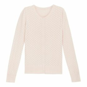 Openwork Knit Cotton Mix Cardigan with Round Neck