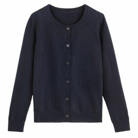 Cashmere Cardigan with Round Neck
