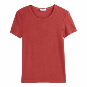Crew-Neck Short-Sleeved T-Shirt in Fine Knit