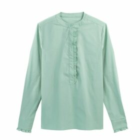 Ruffled Mandarin Collar Shirt in Cotton Mix