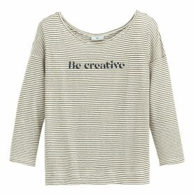 Linen Be Creative Slogan Breton Striped T-Shirt