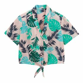 Cotton Leaf Print Tie-Front Button-Up Hawaiian Shirt