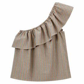 Striped Cotton Asymmetric Off-the-Shoulder Blouse