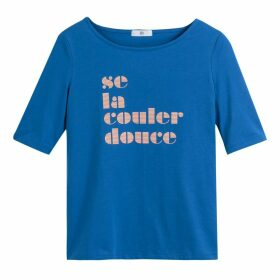 French Slogan Stretch Cotton T-Shirt