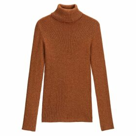 Skinny Roll Neck Jumper in Ribbed Glitter Knit