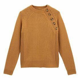 Ribbed Chunky Knit Jumper with Round Neck and Faux Tortoiseshell Buttons