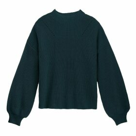 Ribbed Chunky Knit Jumper with High Neck and Balloon Sleeves