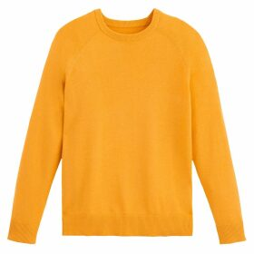 Fine Knit Cotton Mix Jumper with Crew-Neck