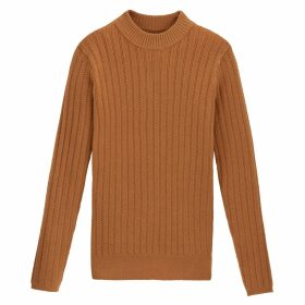 Mini Cable Knit Ribbed Jumper with Crew-Neck
