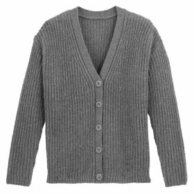 Buttoned Ribbed Chunky Knit Cardigan