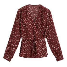 Floral Print Wrapover Blouse with V-Neck