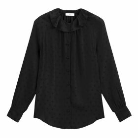 Ruffled Jacquard Polka Dot Blouse with Long Sleeves