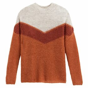 Colour Block Chunky Ribbed Jumper with Crew Neck