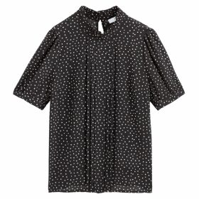 High-Neck Polka Dot Blouse with Pleats and Short Puff Sleeves