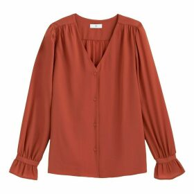 Boyfriend Blouse with Ruffled Long Sleeves and V-Neck