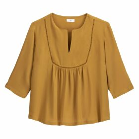 Loose Fit Peasant Blouse with 3/4 Length Sleeves