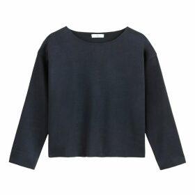 Cropped Plain Boxy Sweatshirt with Round Neck