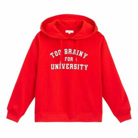 Cotton Slip-On Hoodie with Slogan