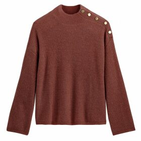 Chunky Knit High Neck Jumper with Buttoned Shoulder