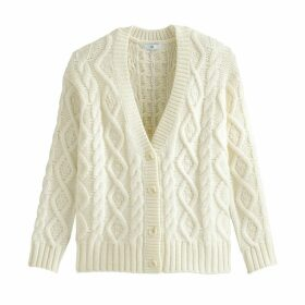 Chunky Cable Knit Cardigan with V-Neck