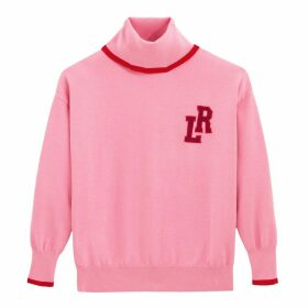 Fine Knit Jumper with Roll Neck and La Redoute Logo