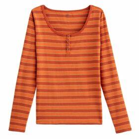 Cotton Grandad Collar Long-Sleeved T-Shirt