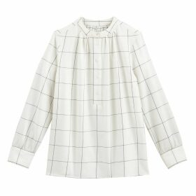 Checked Cotton Blouse with Crew Neck