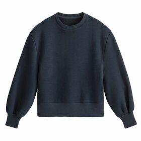 Oversized Puff Sleeve Sweatshirt in Cotton Mix with Crew Neck