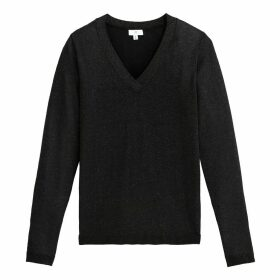 Metallic Fine Knit Jumper with V-Neck