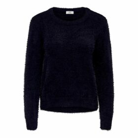 Fuzzy Fine Knit Jumper with Round Neck