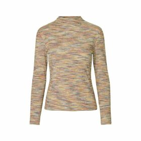 High Neck Jumper in Fine Iridescent Knit