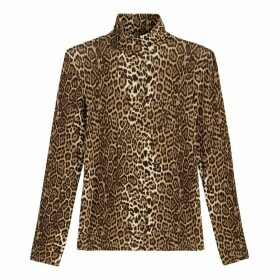 Leopard Print T-Shirt with High Neck