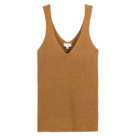 Fine Knit Tank Top with V-Neck