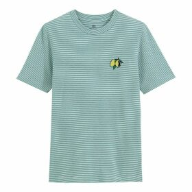 Striped Cotton Embroidered T-Shirt with Crew-Neck