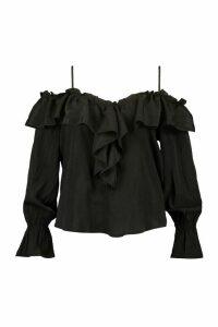 Womens Plus Cold Shoulder Ruffle Plunge Top - Black - 24, Black