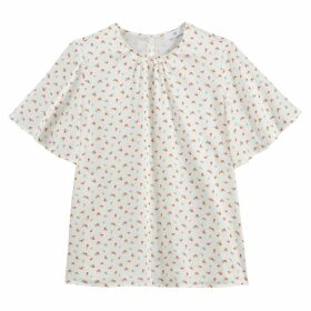 Ditsy Floral Print Blouse with Round-Neck