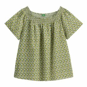 Printed Cotton Off-The-Shoulder Blouse with Smocked Detail