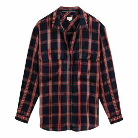 Checked Long-Sleeved Shirt with Pockets