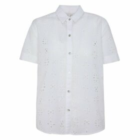 Cotton Broderie Anglaise Blouse with Short Sleeves