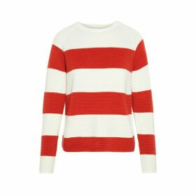 Wide Breton Striped Jumper with Crew Neck and Buttoned Back in Cotton Mix