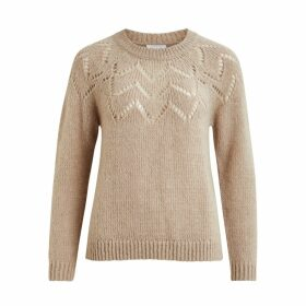 Pointelle Openwork Jumper with Crew Neck