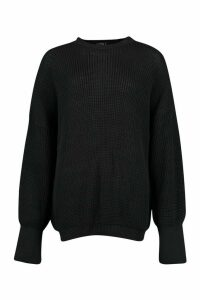 Oversized Knitted Jumper - Black - M, Black