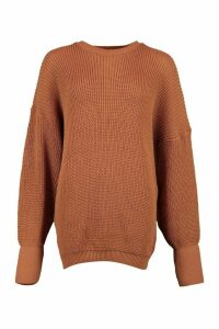Oversized Knitted Jumper - Beige - M, Beige