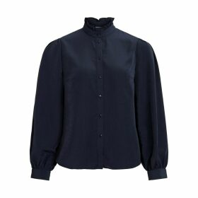 Long-Sleeved Blouse with High-Neck
