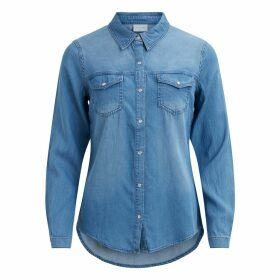 Denim Fitted Shirt with Long Sleeves and Pockets