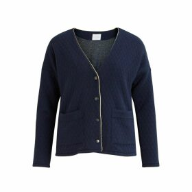 Fleece Two-Pocket Cardigan with Gold-Coloured Trim