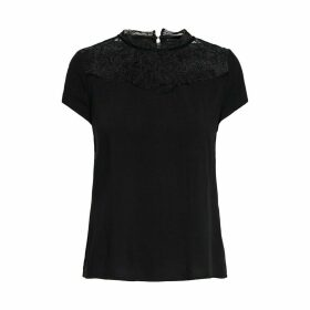 Laced High Neck Blouse with Short Sleeves
