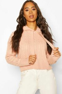 Womens Cable Knit Hoodie - Pink - M, Pink