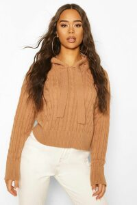 Womens Cable Knit Hoodie - Beige - M, Beige