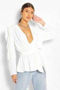 Womens Puff Sleeve Wrap Blouse - White - 16, White